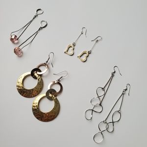 Bundle of 4 Pair of Linear Drop Earrings